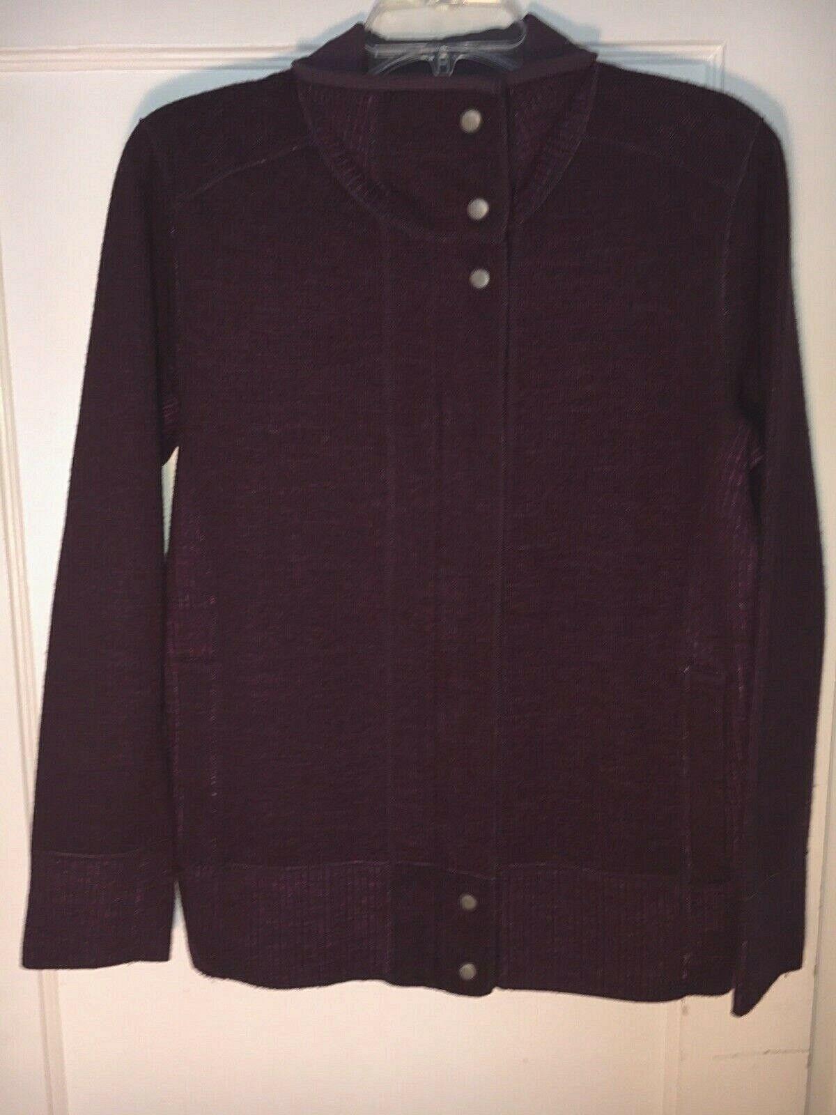Title Nine lila Wolle blend zip snap Swacket Cardigan sweater jacket L. A495