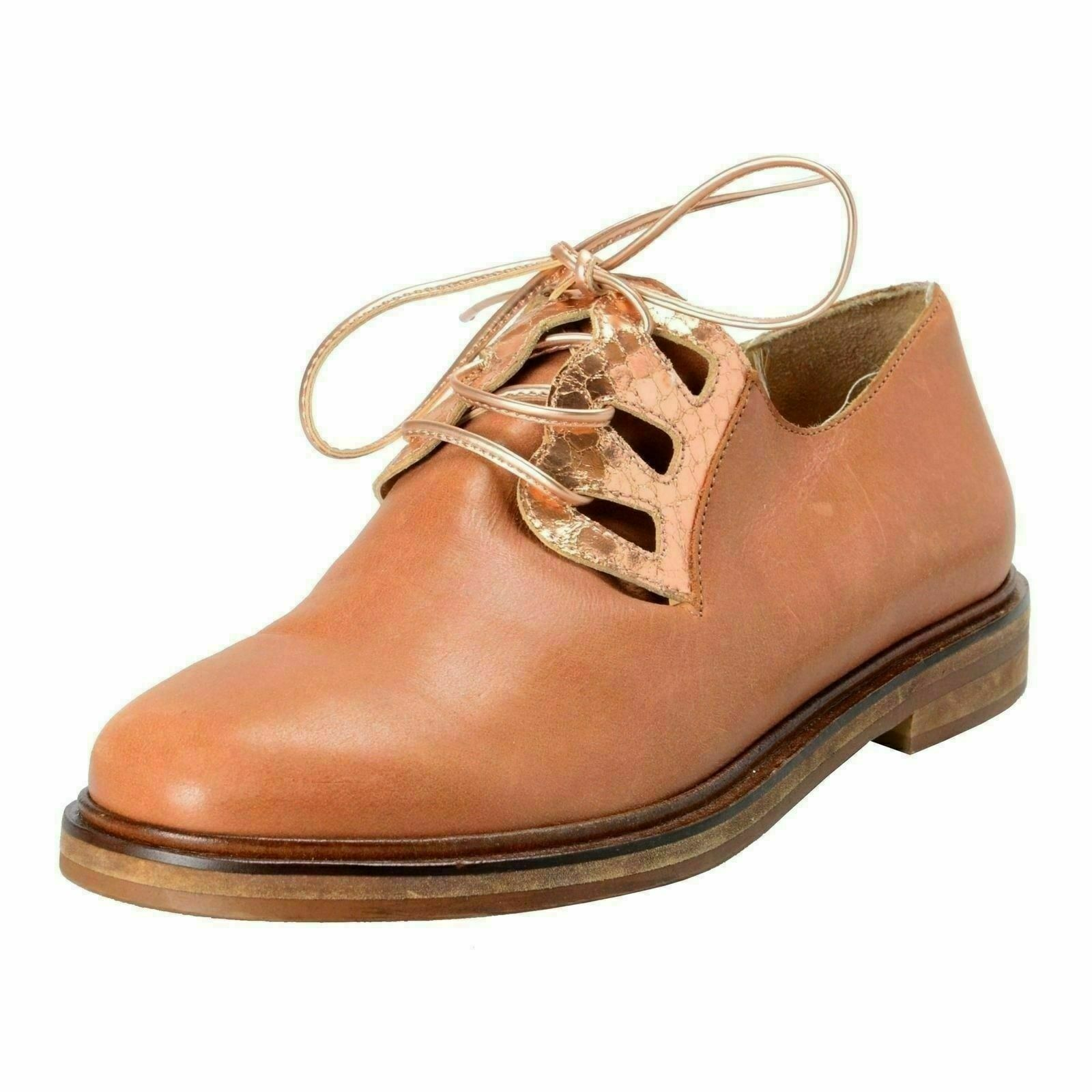 Maison Margiela Mm6 Damen Antikleder Oxford Schuh Flache Schuhe Us 6 It 37