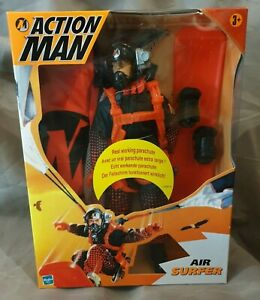 Action-Man-Air-Surfer-Actionfigur-mit-Fallschirm-Hasbro-2000-Boxed-Neu-amp-Ovp