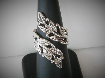 Taxco Mexico TC-208 Artisan Sterling Silver Leaves Branch Wrap Band Ring Sz 7
