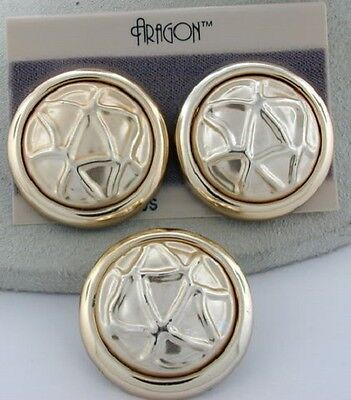 Honey Vintage Aragon Gold Tone Earrings & Matching Brooch Set Elegant Shape Jewelry Sets