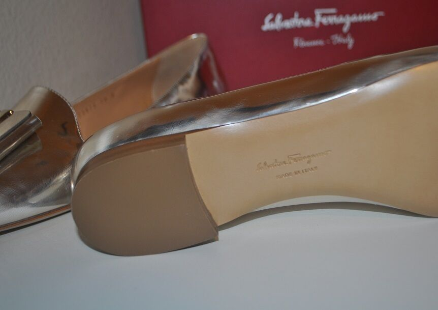 Salvatore Ferragamo ELISABELLA Bow Bow Bow Loafer Flat shoes Metallic Silver Leather 10 M 92e7f5