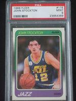1988 88 Fleer John Stockton #115 HOF (not 1986) RC Utah Jazz MINT PSA 9