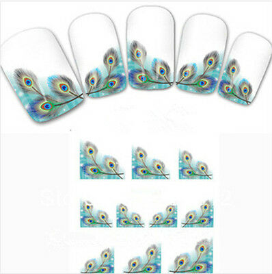 HOT Peacock Feather nail Wraps Water Transfers Stickers Decals Nail Art CA HF