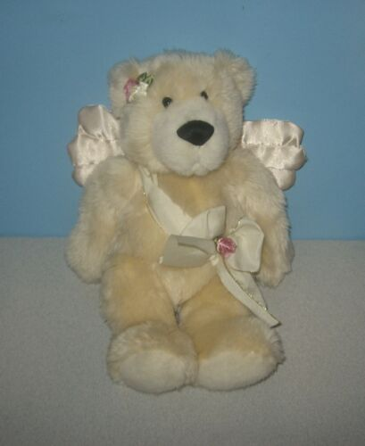 "12"" Ganz Cream Angel Bear ""Valentina"" Satin Wings Soft Bean Jointed Plush"