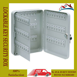NEW 20 48 96 HOOK STEEL WALL MOUNTED LOCKABLE KEY CABINET LOCKING SECURITY BOX