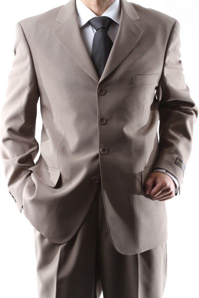 MEN'S 4 BUTTON DRESS SUIT MENS TAN NEW SUITS SIZE 36S