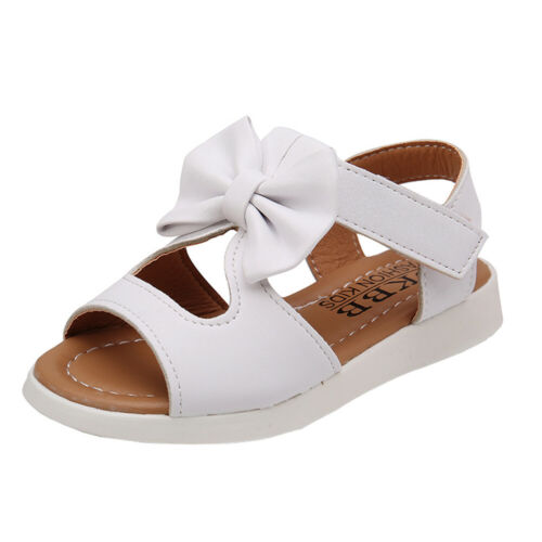 Newborn Toddler Kid Baby Slippers Sandals Bowknot Girls Flat Pricness Shoes UK
