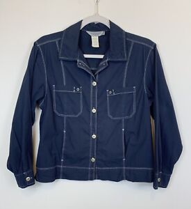 Fresh-Produce-Women-039-s-Size-Small-Lightweight-Navy-Blue-Jacket-Shirt-EUC