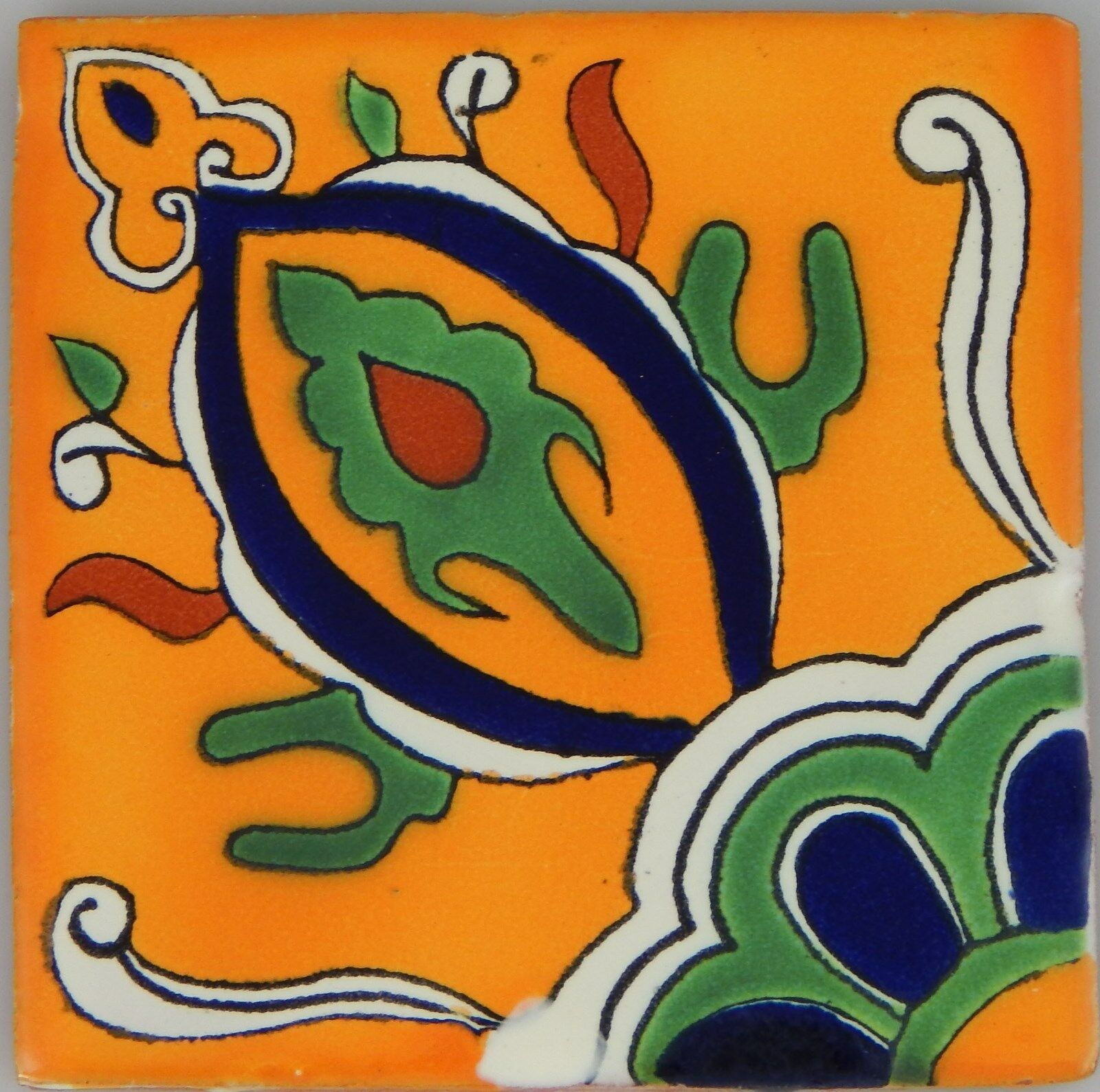C349- Mexican Handmade Talavera Clay Tile Folk Art 4x4