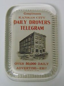 Vintage-1890s-Kansas-City-Daily-Drovers-Telegram-Glass-Advertising-Paperweight