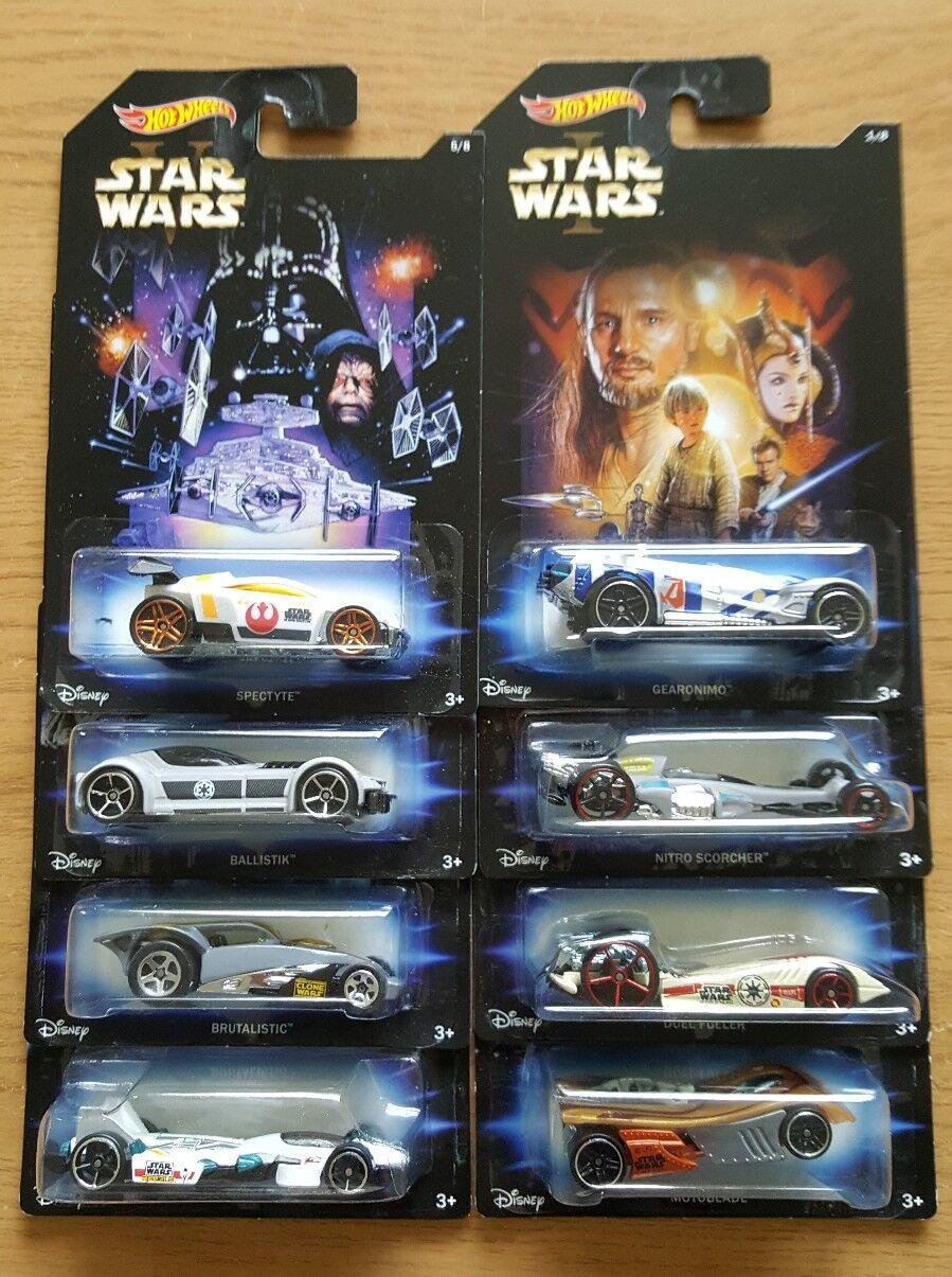 FULL SET OF 8 HOT WHEELS STAR WARS INSPIRED CARS EPISODES 1-6 CLONE WARS REBELS
