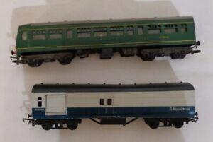 OO-Gauge-Hornby-R157-158-M79632-trailer-car-amp-Triang-R23-Royal-Mail-Blue-Grey