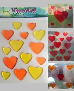 Vitrogel-Cuori-Arancione-Giallo-Rosso-Rosa-Riutilizzabile-Gel-finestra-si-aggrappa-Adesivi