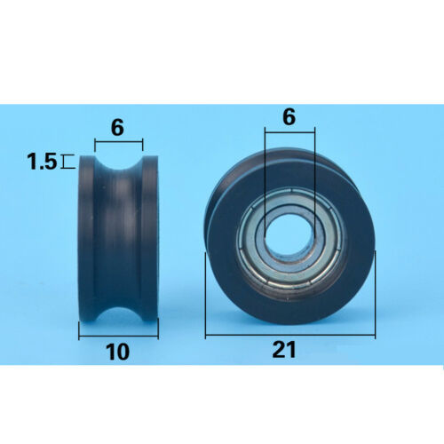 2pcs U plastic Embedded 696 Groove Ball Bearings 6*21*10mm Guide Pulley Width 6m