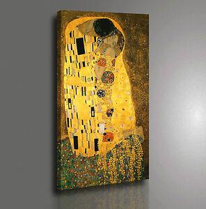 Quadro Klimt IL Bacio Stampa su Tela Canvas Vernice Pennellate Effetto Dipinto