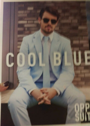Oppo Suit Cool Blue Costume Tie Pants Tailgate Party Halloween  Stylish Suit