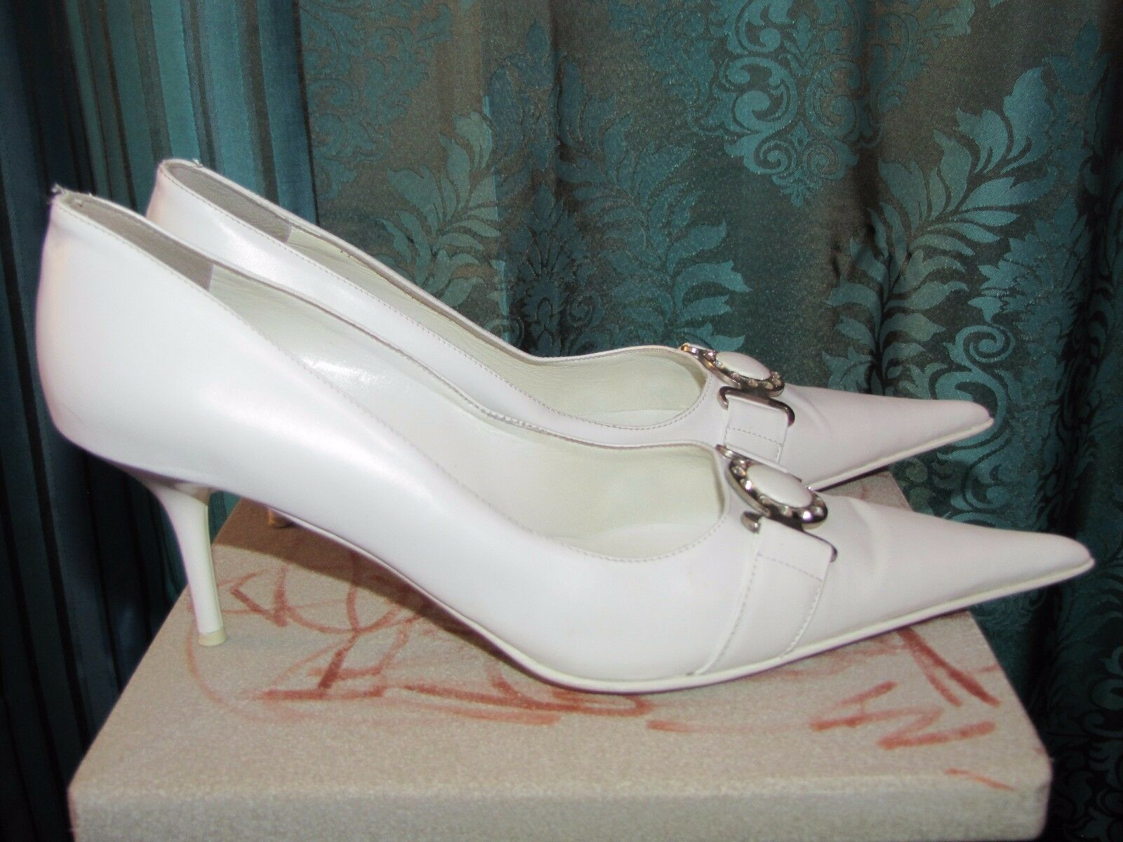 Poletto woman white heel pump shoes size 40