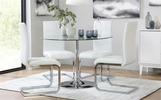 Orbit & Perth Round Glass & Chrome Dining Table And 4 Chairs Set (White)