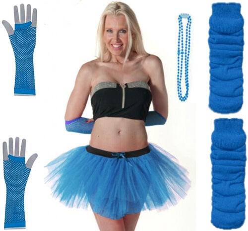 ADULTS KIDS NEON UV 80/'s GIRLS FANCY DRESS HEN PARTY TUTU LEG WARMERGLOVES BEADS