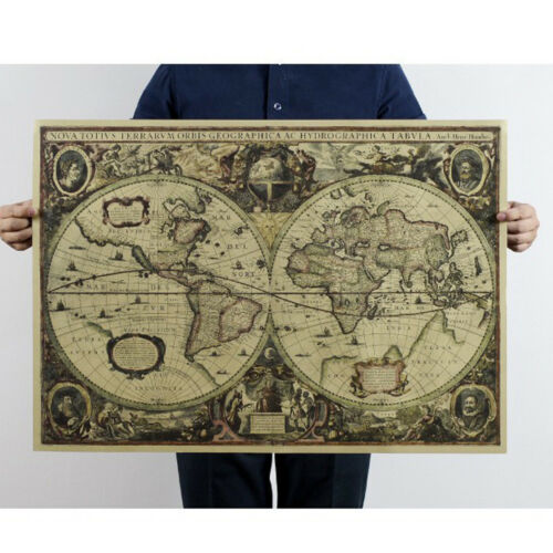 Old World Map Vintage Globe Matte Brown Paper Poster Wall Table Decor Mat W6H