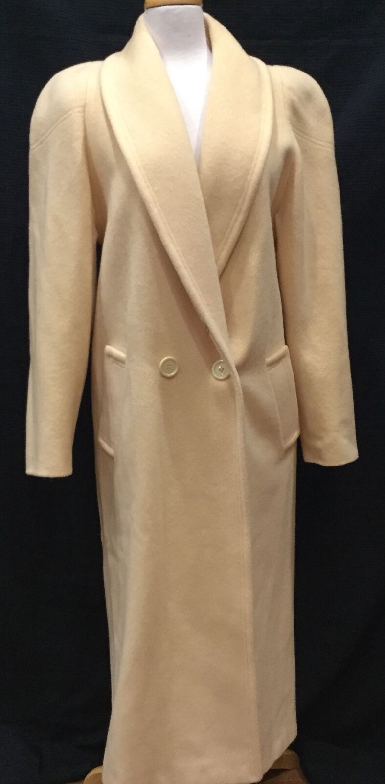 Butter gold Ivory Long Dress Coat Sz 8 100%Wool Lined Double Breasted