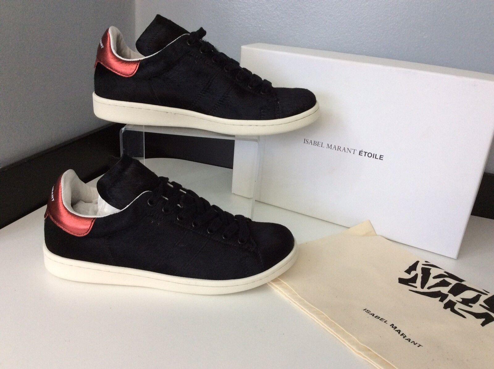 Isabel Marant Nuevo Bart Negro Zapatillas Pony Zapatos De Salón Reino Unido 3 RRP
