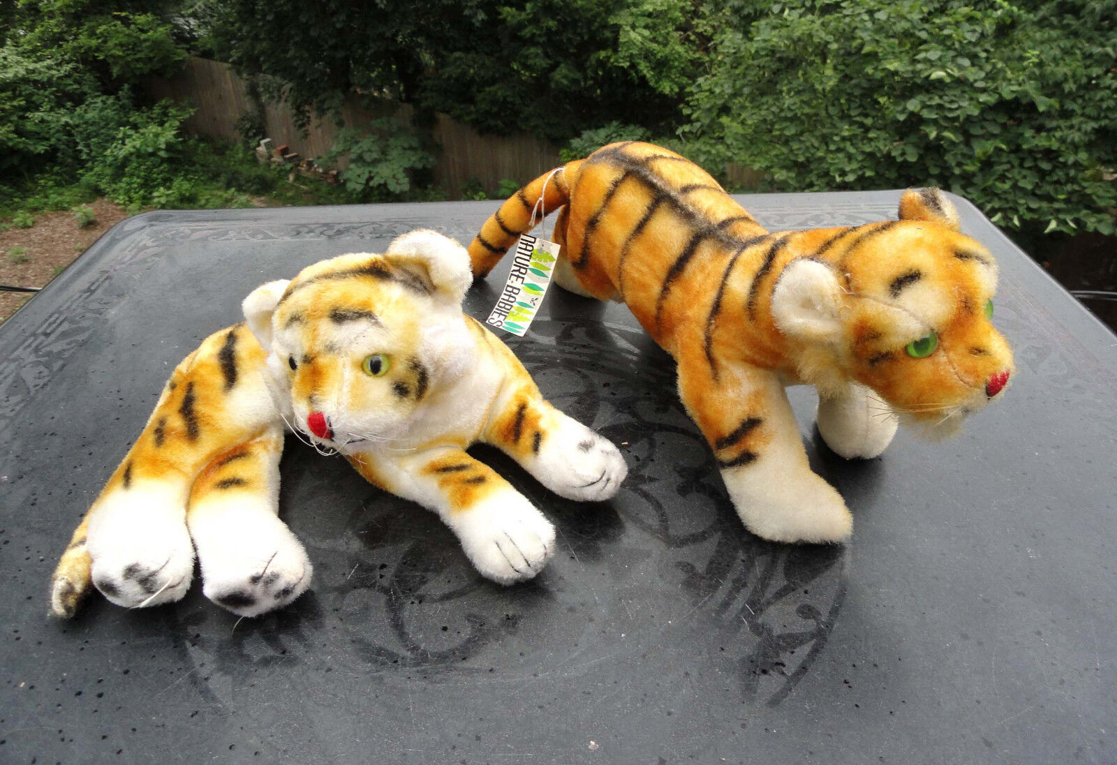 Vintage 70's Nature Babies Dakin Plush Tiger Pr Stalking & Reclining