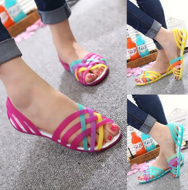 NEW SUMMER WOMEN BEACH FLAT SANDALS COLORED OPEN TOE JELLY HOLLOW SHOES Slippers