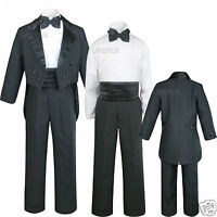 Infant Toddler Kid Teen Boy Wedding Tail Formal Tuxedo Suit Black Size: S To 20