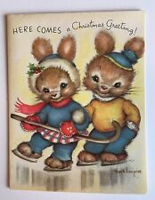 NOS Vintage RUST CRAFT Hope Champion Christmas Card Ice Skate Bunny Couple Cane