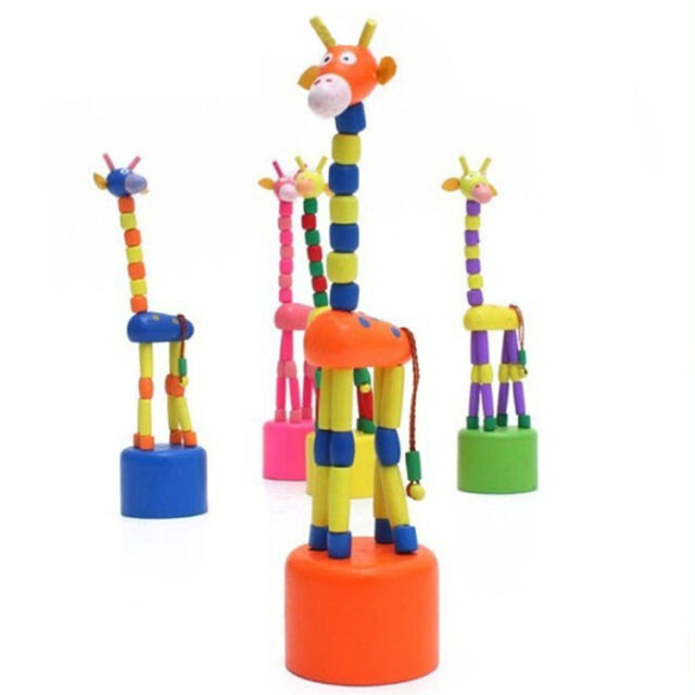 Hot Selling Wooden Toys For Children Dancing Doll Rock Giraffe Animal Joints