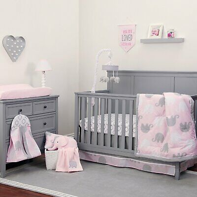 Pink Gray Elephant 8pc Crib Bedding Set, Baby Girl Pink And Grey Cot Bedding
