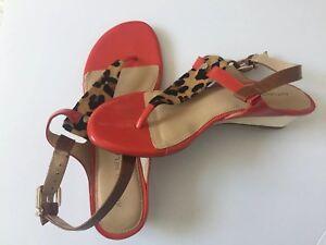 Antonio Melani Sandal Wedge Animal Leather Calf Hair Red