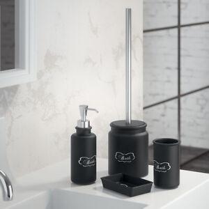 Set accessori bagno da appoggio in ceramica nera Gedy linea Chantal