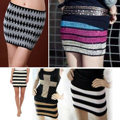 Chevron Stripe Stretch Bandage Elastic Knit Mini Skirt Colorful Slim Fit No Seam