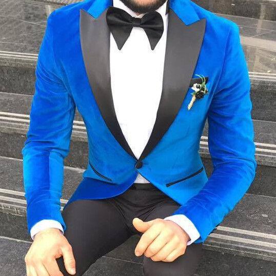 Designer Blau Samt Anzug Smoking Hochzeitanzug Herrenanzug Tailliert Slim Fit 50
