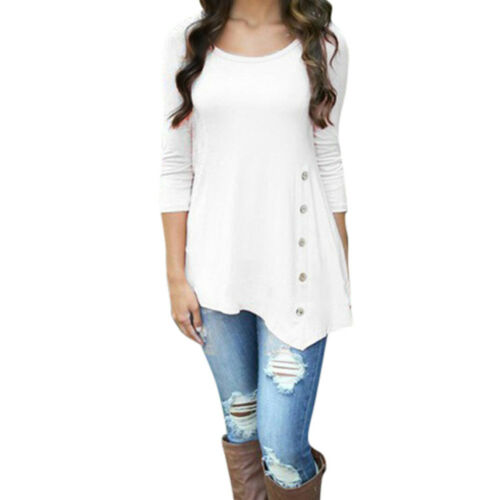2018 Women Lady Fashion Loose Trim Blouse Tops Casual Round Neck Tunic T-Shirt