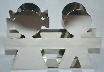 Alessi Girotondo Boy Girl Napkin Letter Holder Stainless Steel Italy Ebay