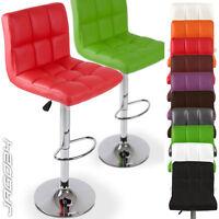 Faux Leather Breakfast Bar Stool Kitchen Chair Pub Barstools Chrome Gas Lift Set