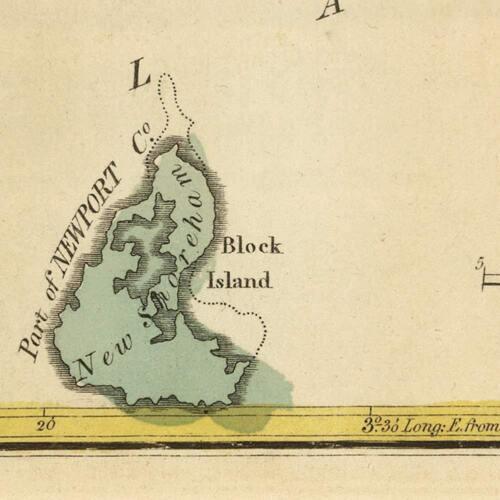 "LARGE Elegant USA Map of RHODE ISLAND circa 1822 Atlas Chart 18/""x24/"""