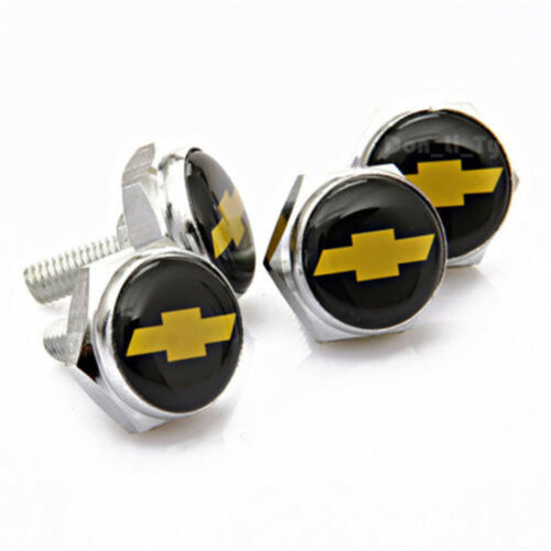 NEW 4X Car License Plate Frame Security Screw Bolt Caps Covers For Chevrolet