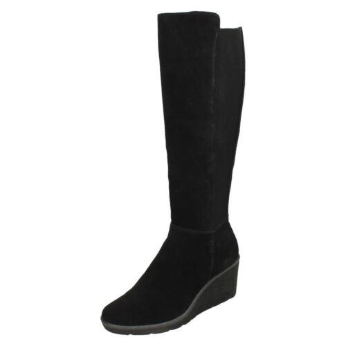 Ladies Boots Clarks Wedge Knee Black Hazen High Madison qpq8SwRr