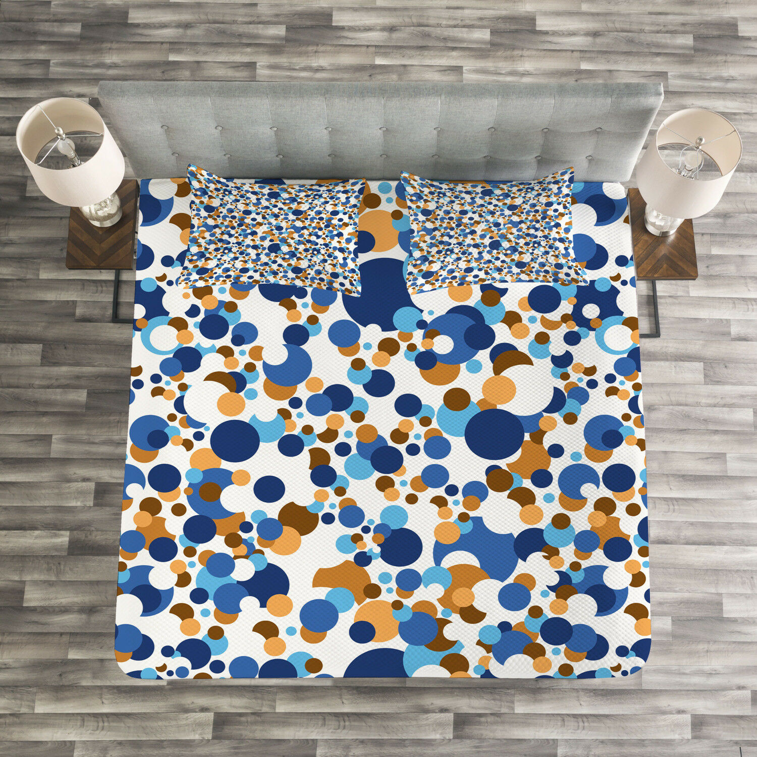 Abstract Quilted Bedspread & Pillow Shams Set, Bubble Retro Festive Print