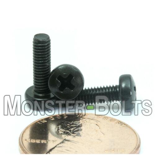 Steel w// Black Oxide  DIN 7985 A M3 x 10mm  Phillips Pan Head Machine Screws