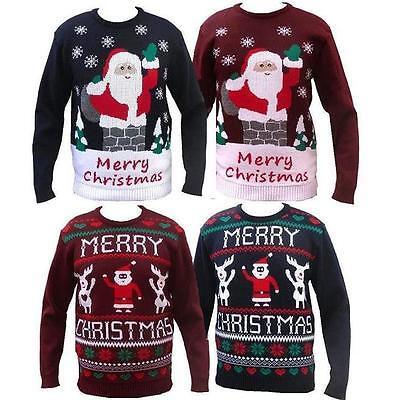 NUOVO UOMO DONNA DIVERTENTE MAGLIONE maleducato Natale Xmas Donna Babbo Natale Pupazzo di neve SWEATER