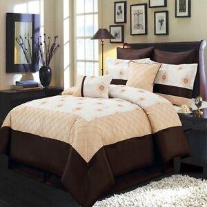 Madison Comforter Set Gold Ivory And Chocolate King Size