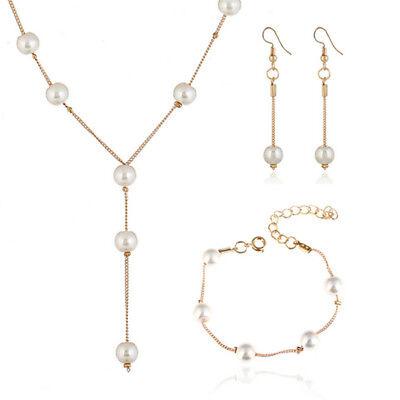Imitation Pearl Necklace Earrings Bracelet Jewelry Set Simple