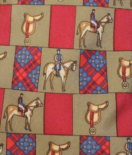 Vintage Horse Sattle Polo player prints 100% silk