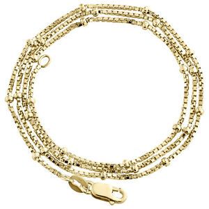 10K-Yellow-Gold-1mm-Square-Box-Chain-Diamond-Cut-Bead-Necklace-16-24-Inches